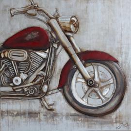 Olieverfschilderij - Motorfiets - 100x100 cm