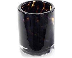 Design vaas cilinder - Fidrio leppard - glas, mondgeblazen bloemenvaas - diameter 9 cm hoogte 11 cm