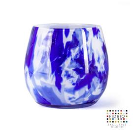 Design vaas Fidrio - Fiore Delfts blue - gekleurd glas - mondgeblazen - 15 cm hoog --