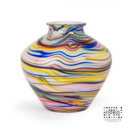 Design vaas Fidrio - glas kunst sculptuur - Belly - caribbean - mondgeblazen - 23 cm diep