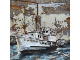 100 x 100 cm - 3D art Schilderij Metaal - Witte schepen - handgeschilderd