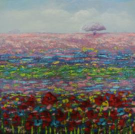 100 x 100 cm - Olieverfschilderij - bloemenveld kleurrijk - natuur - handgeschilderd