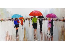 140 x 70 cm - Olieverf schilderij - schilderij kleurrijke paraplu's - stad - handgeschilderd