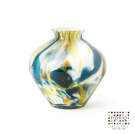 Design vaas Fidrio - glas kunst sculptuur - Belly colori - mondgeblazen - 23 cm hoog --