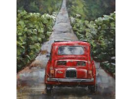 100 x 100 cm - 3D art Schilderij Metaal - Fiat 500 - Oldtimer - handgeschilderd