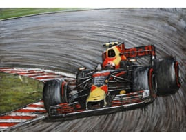 120 x 80 cm - 3D art Schilderij Metaal Formule 1 race - handgeschilderd