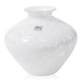 Design vaas Fidrio - glas kunst sculptuur - belly - White granulat - mondgeblazen - 15 cm hoog