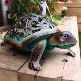 Beeld metaal - Tuinbeeld - beeld  solar schildpad - 18 cm hoog