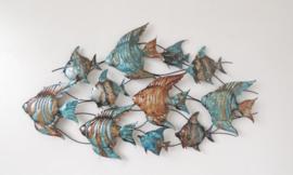 Metalen wanddecoratie - wanddeco - kleurrijke vissen