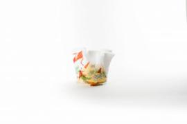 Design vaas Fidrio - glas kunst sculptuur - Wave - Mixed colours - mondgeblazen - 15 cm hoog --