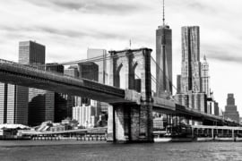 Glasschilderij - Brooklyn Bridge - Foto print op glas