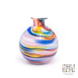 Design vaas Fidrio - glas kunst sculptuur - Bolvase - caribbean - mondgeblazen - 11 cm diep