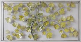 135 x 70 cm - wanddecoratie schilderij metaal - Frame Art - Abstract - Takken - lichtgroen