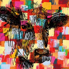 80 x 80 cm - Schilderij Dibond - Foto op aluminium dieren - Koe - fotokunst - Mondiart