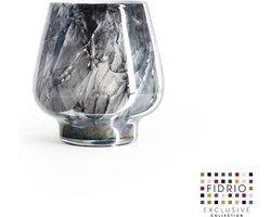 Design vaas Milano medium - Fidrio NERO - glas, mondgeblazen bloemenvaas - diameter 14 cm hoogte 20 cm