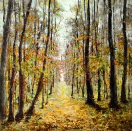 Olieverfschilderij - Herfst Bomenlandschap