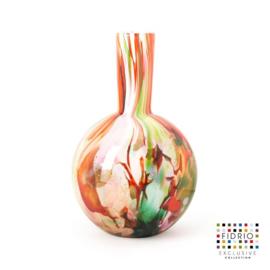 Design vaas Fidrio - glas kunst sculptuur - globe - mixed colours - mondgeblazen - 40 cm hoog --