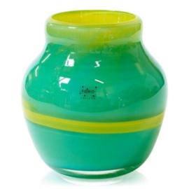 Design vaas Fidrio - glas kunst sculptuur - Floreo - Verde - mondgeblazen - 24 cm hoog --