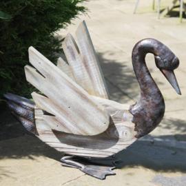 Beeld metaal en hout - Tuinbeeld - beeld zwaan - 37 cm hoog