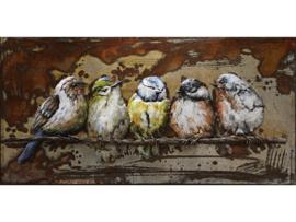 100 x 50 cm - 3D art Schilderij Metaal - Vogels - handgeschilderd