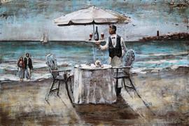 120 x 80 cm - 3D art Schilderij Metaal Strand Romantiek - handgeschilderd