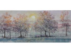120 x 55 cm - Olieverf schilderij - schilderij bomen - natuur handgeschilderd