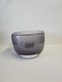 Design candleholder - Fidrio purple - glas, mondgeblazen - hoogte 7 cm --