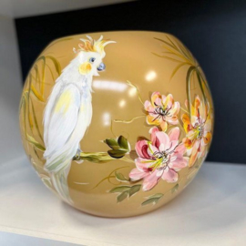 Design vaas bolvase - Fidrio handpainted exotic - glas, mondgeblazen bloemenvaas - diameter 40 cm