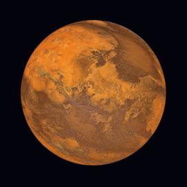 Glasschilderij - Planeet Mars - UV geprint - 100x100 cm