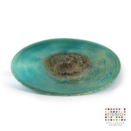 Design schaal Fidrio - glazen sculptuur - Fiji - plate - glas - mondgeblazen - 45 cm rond --