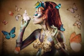 120 x 80 cm - Glasschilderij - Vrouw met vlinder - schilderij fotokunst - foto print op glas