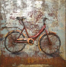 100x100 cm - 3D art Schilderij Metaal Fiets - handgeschilderd