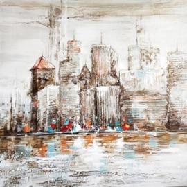 100 x 100 cm - Olieverfschilderij - Stad - stadsgezicht handgeschilderd