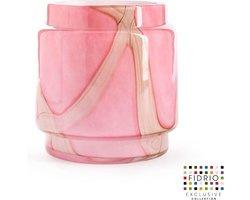 Design vaas Pot - Fidrio PINK FLAME - glas, mondgeblazen bloemenvaas - diameter 17 cm hoogte 20,5 cm