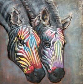 100 x 100 cm - 3D art Schilderij Metaal - Zebra's - handgeschilderd