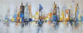 150 x 60 cm - Olieverfschilderij - Stad - stadsgezicht skyline handgeschilderd