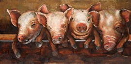 60 x 120 cm - 3D art Schilderij Metaal - biggetjes - handgeschilderd
