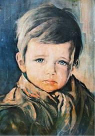 Foto op hout - Huilende jongen