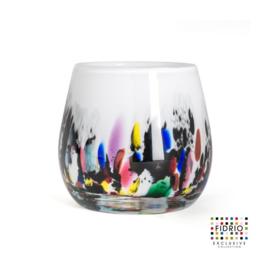 Design vaas Fidrio - glas kunst sculptuur - Fiore - coral - mondgeblazen - 12 cm hoog --