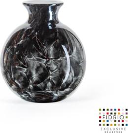 Design vaas Bolvase with neck - Fidrio NERO zwart - glas, mondgeblazen bloemenvaas - diameter 11 cm