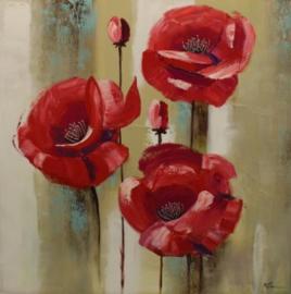 Olieverfschilderij - Rode Bloemen - 100x100 cm