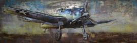 180 x 60 cm - 3D art Schilderij Metaal hunter vliegtuig - handgeschilderd