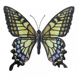 Wanddecoratie 3D metaal vlinder Geel/zwart