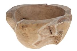 Houten kunst - Houten vaas - dulang - naturel teak
