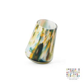 Design vaas Fidrio - glas kunst sculptuur - Tubler colori - mondgeblazen - 16,5 cm hoog --
