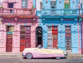 160 x 110 cm - Glasschilderij oldtimer - schilderij fotokunst - oud Havana - foto print op glas