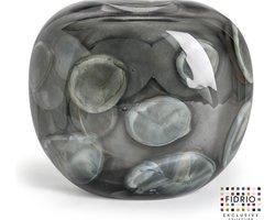 Design vaas Coco - Fidrio Grey Cloudy - Bloemenvaas glas, mondgeblazen - Ø 25 cm hoogte 21 cm
