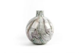 Design vaas Fidrio - glas kunst sculptuur - bolvase - Coloured stripes - mondgeblazen - 26 cm hoog