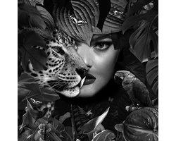 80 x 80 cm - Glasschilderij - Vrouw en Jaguar - Fantasy Photopraphy - foto print op glas
