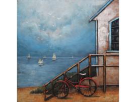 100 x 100 cm - 3D art Schilderij Metaal - strandhuis - fiets - handgeschilderd